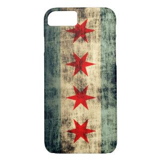 Bandera de Chicago del Grunge del vintage Funda iPhone 7