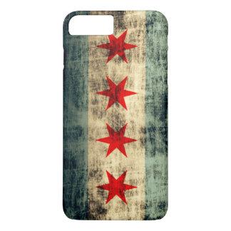 Bandera de Chicago del Grunge del vintage Funda iPhone 7 Plus