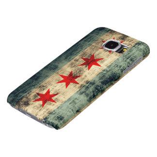 Bandera de Chicago del Grunge del vintage Fundas Samsung Galaxy S6