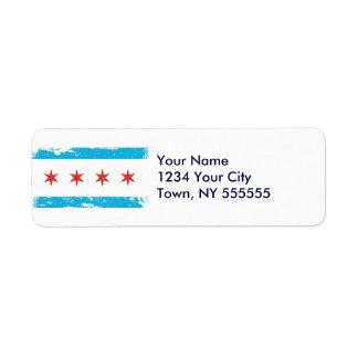 Bandera de Chicago del Grunge Etiqueta De Remitente