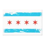 Bandera de Chicago del Grunge Impresiones En Lona Estiradas