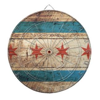 Bandera de Chicago en grano de madera viejo