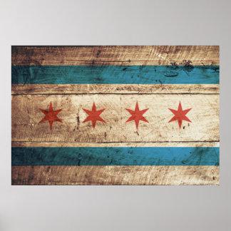 Bandera de Chicago en grano de madera viejo Póster