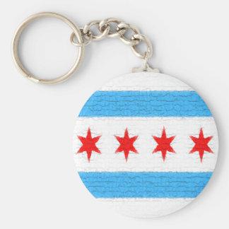 Bandera de Chicago Llavero Redondo Tipo Pin