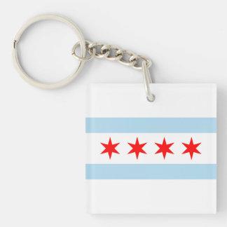Bandera de Chicago Llavero Cuadrado Acrílico A Doble Cara