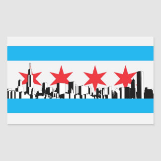 Bandera de Chicago Rectangular Pegatina