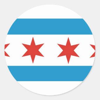 bandera de Chicago Etiqueta Redonda