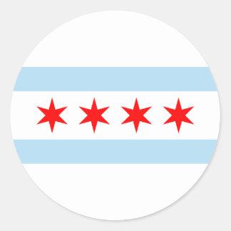 Bandera de Chicago Pegatinas Redondas