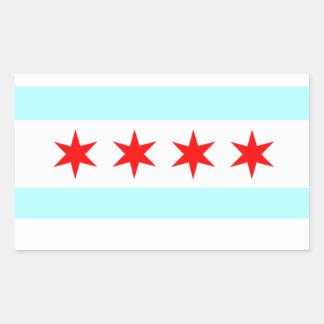 Bandera de Chicago Pegatina Rectangular