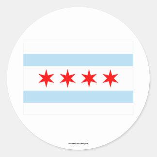 Bandera de Chicago Pegatina Redonda
