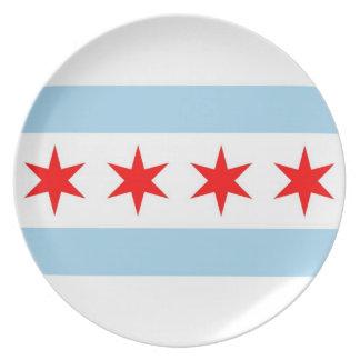 Bandera de Chicago, placa del estado de Illinois Platos