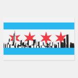 Bandera de Chicago Rectangular Pegatinas