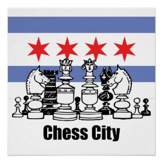 Bandera de Chicago y tablero de ajedrez Perfect Poster