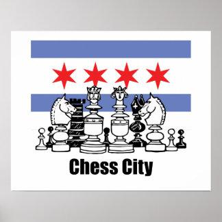 Bandera de Chicago y tablero de ajedrez Póster