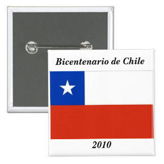 Bandera de Chile - Bicentenario Chile 2010 Pin Cuadrado