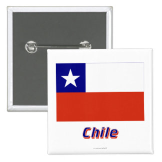 Bandera de Chile con nombre Pin Cuadrado