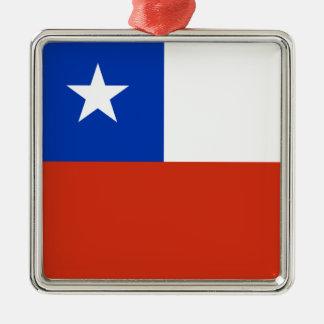 Bandera de Chile Adorno Cuadrado Plateado