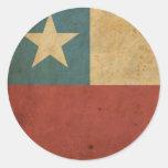 Bandera de Chile del vintage Pegatinas Redondas