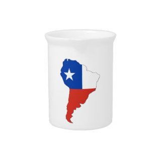 Bandera de Chile en un mapa de Suramérica Jarras De Beber