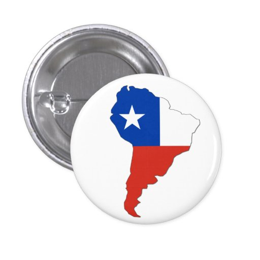 Bandera de Chile en un mapa de Suramérica Pin Redondo De 1 Pulgada