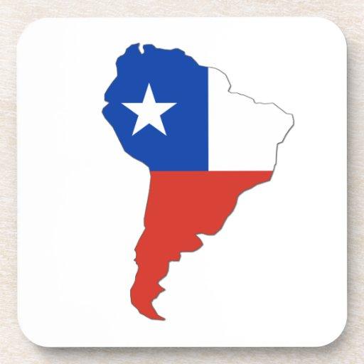 Bandera de Chile en un mapa de Suramérica Posavasos De Bebidas