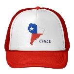 Bandera de Chile en un mapa del gorra de Suraméric