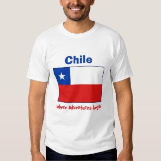 Bandera de Chile + Mapa + Camiseta del texto Remera
