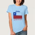 Bandera de Chile + Mapa + Camiseta del texto Remeras