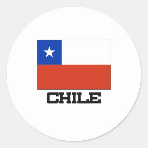 Bandera de Chile Pegatina Redonda