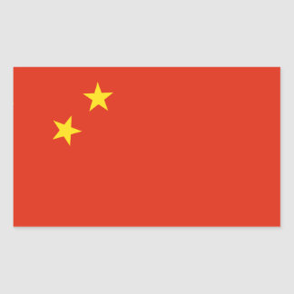 Bandera de China. Adorno chino. Detalle Pegatina Rectangular