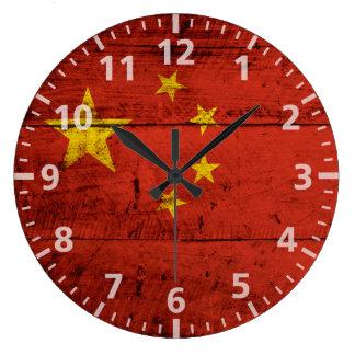Bandera de China en grano de madera viejo Reloj Redondo Grande