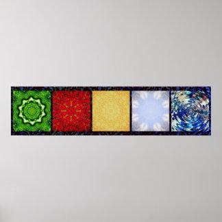 Bandera de cinco elementos póster