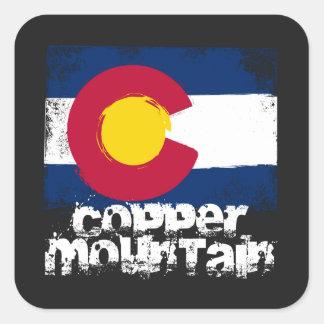 Bandera de cobre del Grunge de la montaña Pegatina Cuadrada