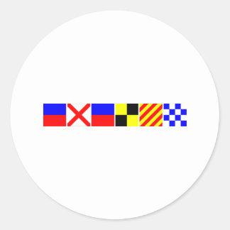 Bandera de código Evelyn Pegatina Redonda