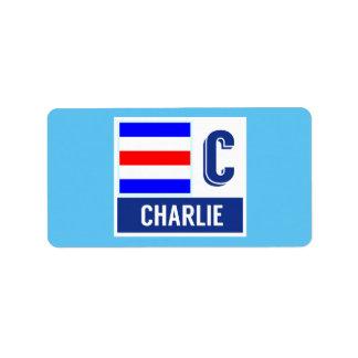 """Bandera de código náutica de la señal C """"Charlie """" Etiquetas De Dirección"""