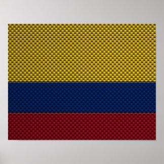 Bandera de Colombia con efecto de la fibra de carb Poster