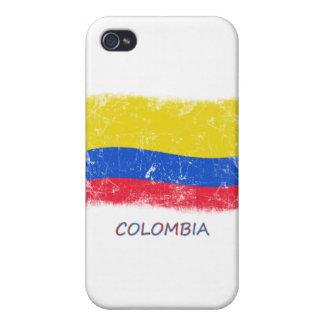 Bandera de Colombia del Grunge iPhone 4 Carcasas