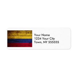 Bandera de Colombia en grano de madera viejo Etiqueta De Remite