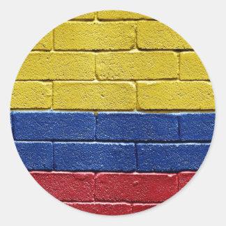 Bandera de Colombia Etiqueta Redonda