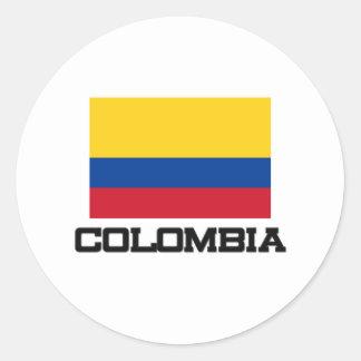Bandera de Colombia Pegatina Redonda