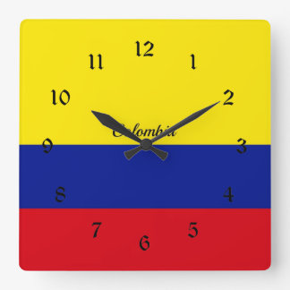 Bandera de Colombia Reloj Cuadrado