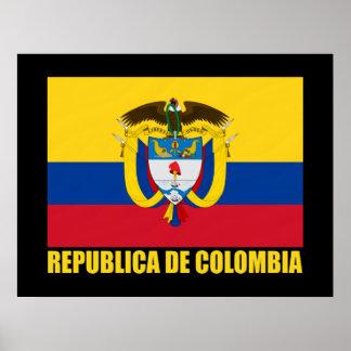 Bandera de Colombia y COA Póster