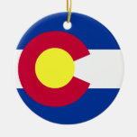 Bandera de Colorado Adorno Navideño Redondo De Cerámica