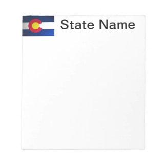 Bandera de Colorado cepillada Bloc De Notas