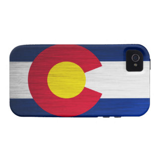 Bandera de Colorado cepillada iPhone 4 Carcasas