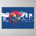 Bandera de Colorado con el horizonte y Rockies de  Impresiones
