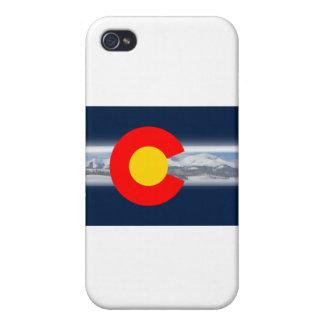 Bandera de Colorado con las montañas iPhone 4/4S Fundas