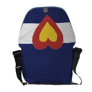 Bandera de Colorado del corazón I, la bolsa de men Bolsas De Mensajeria