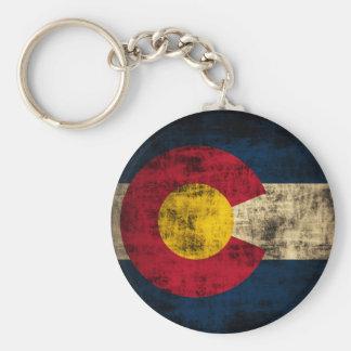 Bandera de Colorado del Grunge Llavero Redondo Tipo Pin