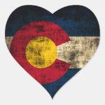 Bandera de Colorado del Grunge Pegatina En Forma De Corazón